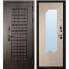Дверь входная металлическая S100 Квадро, Ольга Зеркало Беленый дуб